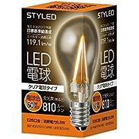 スタイルド LED電球 フィラメント クリア電球タイプ 口金直径26mm 【60W相当・810ルーメン・全方向タイプ・電球色】 LAC6T26L1