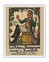 ブルゴーニュワイン、フランス - ワインメーカーHenri deBah?zre - ビンテージな広告ポスター によって作成された ガイ・アルヌー c.1916 - アートポスター - 41cm x 51cm