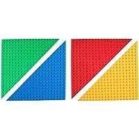 Strictly Briks - Lot de 4 plaques de base empilables - de qualité - pour Big Briks/avec gros tenons - en forme de triangle - compatible avec les plus grandes marques - 31,7 x 31,7 cm - bleu, vert, rouge, jaune