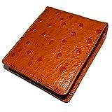 程よい厚みとしなやかさ!オーストリッチ型押し短財布 [ Polo 7062] 誕生日プレゼント 人気ブランド (キャメル)