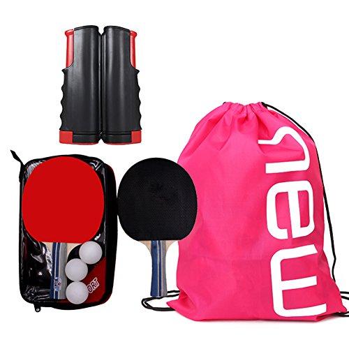 卓球ネット ポータブル セット 卓球 ラケット おすすめ - 卓球台 (ラケット×2本 伸縮ネット ボール×3個) 収納袋付き 初心者 手軽 アウトドア レジャー 職場で