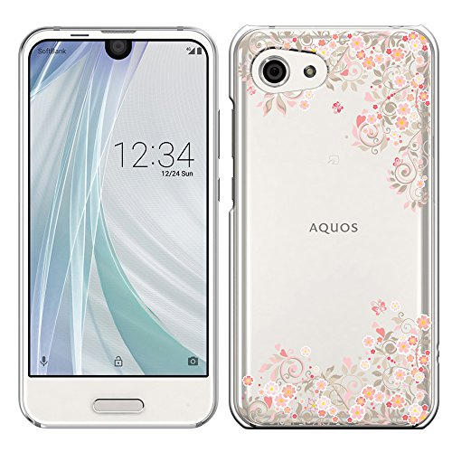 「Breeze-正規品」iPhone ・ スマホケース ポリカーボネイト [透明-Pink]アクオス アール コンパクト AQUOS R compact SHV41 AQUOS R compact ケース カバー 液晶保護フィルム付 全機種対応 [SHV41]