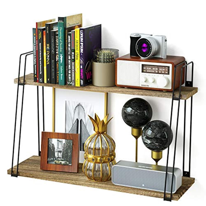 壁フローティングシェルフ – sriwatanaレトロ2 Tier木製壁マウントBook棚、写真表示のリビングルームベッドルームホーム装飾
