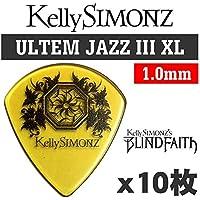【10枚セット】Kelly SIMONZ(ケリーサイモン) オリジナルピック KSJZ1-100 ウルテム JAZZ III XL 1.0mm Kelly SIMONZ's BLIND FAITH ロゴ