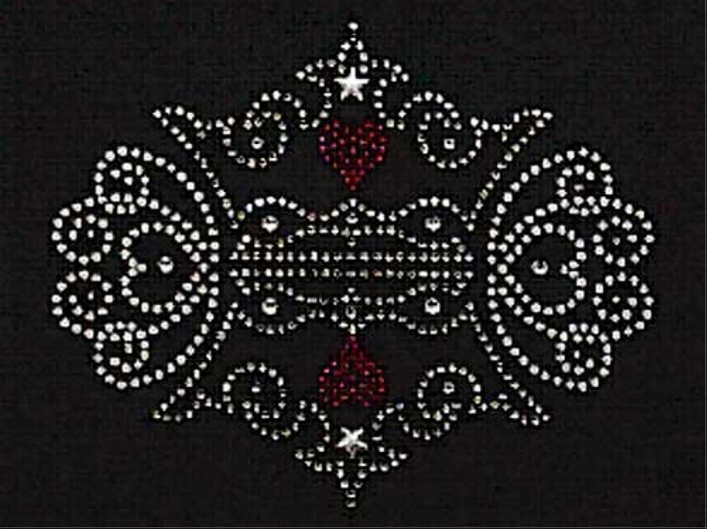 感情の排他的ハンサムスパングル&ラインストーン モチーフシート (王冠、組み合わせ) 約145×119mm [アイロン接着]
