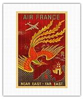 近東、極東 - ロッキードコンステレーションは、インド、中国、日本、パラダイスの国の鳥に飛びます - エアフランス - ビンテージな航空会社のポスター によって作成された ルシアン・ブーシェ c.1947 - キャンバスアート - 41cm x 51cm キャンバスアート(ロール)