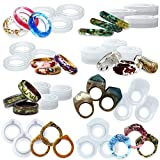 FUNSHOWCASE 指輪 シリコンモールド リング 24個セット 宝石 エポキシ樹脂 UVレジン ペンダント キーチェン ジュエリー パーツ ポリマー粘土 二液レジン