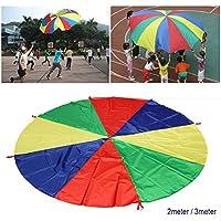 6 - Foot再生パラシュートfor Kids with 8 Handles forアウトドアゲームスポーツ活動体操練習