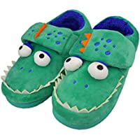 Tirzrro Boys Little/Big Kids Warm Plush Shark Slippers with Memory Foam Sole Cute Animal Indoor Outdoor Slip-on Shoes