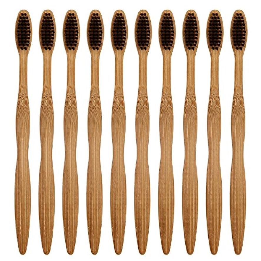 英語の授業があります捧げる上がるCA Mode(JP) 竹製 歯ブラシ ナイロン毛 環境保護 大人用 ハブラシ 10本入