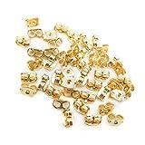 イヤリングパーツ 20個(10ペア)セット 金/ネジバネ式 平皿/ハンドメイド 金具 (ゴールド)