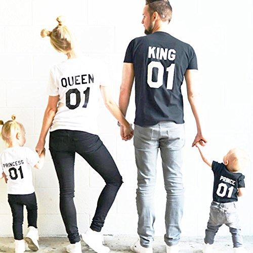 【今世紀最高のペアtシャツ♪】king queen prince princess Tシャツ男女兼用 家族で外出する時ピッタリ!親子ペアルック!家族お揃い/子供服/ 肌に優しい綿生地バックプリント おしゃれ Tシャツ半袖 メンズ レディース [並行輸入品]