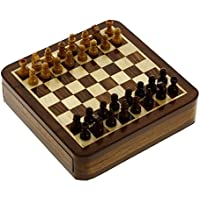 Wooden Board Game Magnetic Sliding Chess with Storage 5 X 5 Inch. [並行輸入品]