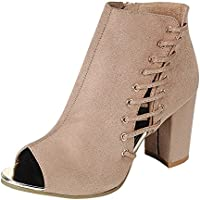 Cambridge Select Women's Inner Zip Corset Open Toe Side Lace Chunky Block Heel Ankle Bootie