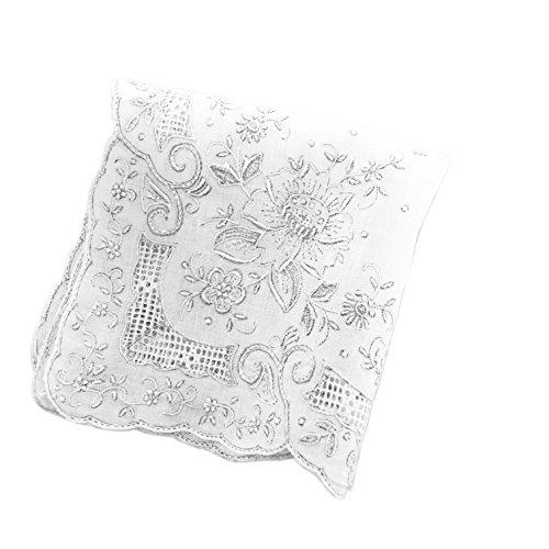 ケース付き スワトー刺繍 綿100% ハンカチーフ 総刺繍 ホワイト sw-1709