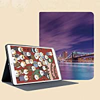 iPad Mini 3/2 / 1 ケース 超薄型 超軽量 TPU ソフトスマートカバー オートスリープ機能 衝撃吸収 二つ折りスタンド高層ビルと夜ニューヨーク市のスカイラインマンハッタンアメリカアメリカのパノラマ