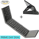 Foldable Bluetooth keyboard with Touchpad, IKOS Ultra Slim Tri-folding Portable Keyboard for iPhone X 8 7 6S 6 Plus, iPad Mini Air Pro, Samsung,Android Smartphone / Tablet , Wireless BT Keyboard with Ergonomic Design Rechargeable Battery