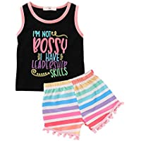 Mikrdoo Toddler Girl Summer Clothes Vest Tops Tassels Shorts 2pcs Baby Girl Outfit Suit