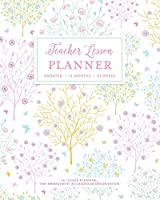 Teacher Lesson Planner, Undated 12 Months 52 Weeks for Lesson Planning, Time Management & Classroom Organization: Pretty Pastel Pink Blue Mint & Yellow Floral Tree Pattern Teaching Plan Calendar Book