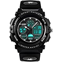 Boys Digital Analogue Watches - Kids Outdoor Sports Watch, 5 ATM Waterproof Electronic Analog Sport Wrist Watches with Alarm/Dual Time/LED Light for Teenagers Childrens - Black