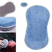 洗車スポンジ、マイクロファイバーカークリーニング洗車ネットスポンジカーホームクリーニングツール