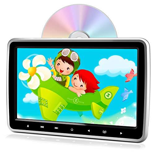 PORMIDO ヘッドレストモニター dvd スロットイン式 10.1インチ dvdプレーヤー HDMI入力 スマホ同期可能 リアモニター車載dvdプレーヤー内蔵 CPRM対応 高画質1024*600 リージョンフリー レジューム機能 スピーカー内蔵 AUX USB SD AV-IN AV-OUT 軽薄設計 簡単取付 シガーアダプター付き 12ヶ月保障 日本語説明書付属