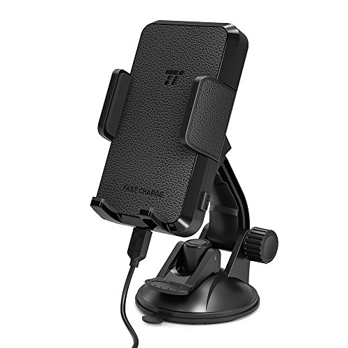 TaoTronics 車載ホルダー 車用 ワイヤレス充電器 Qi 急速 最大10w ワイヤレス充電 吸盤 ホルダー Galaxy S8 / S8 Plus / S7 / S7 Edge / S6 Edge/ Note8 / iPhone X / 8 Plus / 8 など Qi対応機種 TT-SH004 (黒)