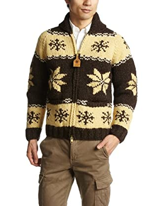 Canadian Sweater Company Snow Zip Cardigan 09CN04: Moss / Brown