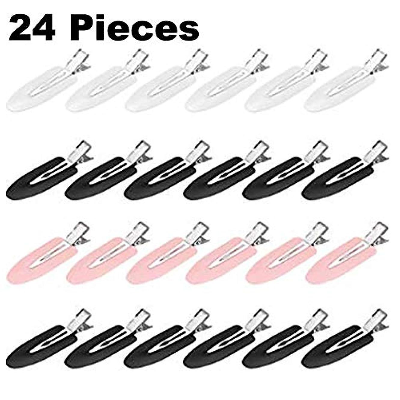 繊維影響人に関する限り跡が付かない前髪クリップ ホワイト&ピンク(24個入り)