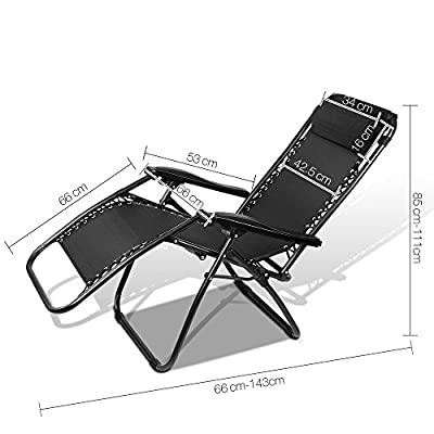 Zero Gravity Portable Reclining Lounge Folding Outdoor Camping Beach Chair Black