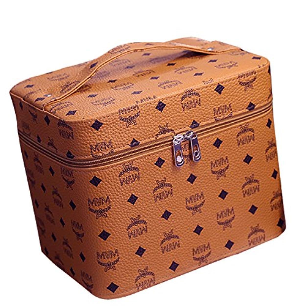 三番財布単なる化粧品収納ボックス コスメボックス コスメ収納ボックス 化粧品入れ レディース ジュエリーボックス 小物 収納 メイクボックス (ブラウン)