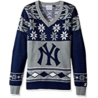 (NEW YORK YANKEES WOMENS V-NECK SWEATER EXTRA LARGE, X-Large) - MLB Womens Big Logo V-Neck Sweater