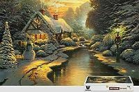 pigbangbang、20.6X 15.1インチ、ハード木製ボックスで有名な絵画明るいカラフルな–ホワイト雪House at Night–500ピースジグソーパズル