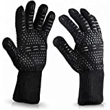 1 Pair BBQ Grill Gloves Heat Resistant Kitchen Oven Pot Holder Silicone Non-Slip Glove for Cooking, Barbecue, Baking, Welding