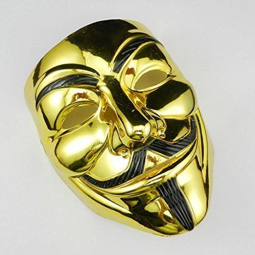 特別仕様の2色から選べる アノニマス V for Vendetta Mask ガイ フォークス 仮面 マスク コスプレ 衣装 ハロウィン イベント 金 銀 (ゴールド)