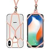 seOSTO【セオスト】シリコン ネックストラップ スマホ 落下防止 iPhone Xperia (ピンク 1本)