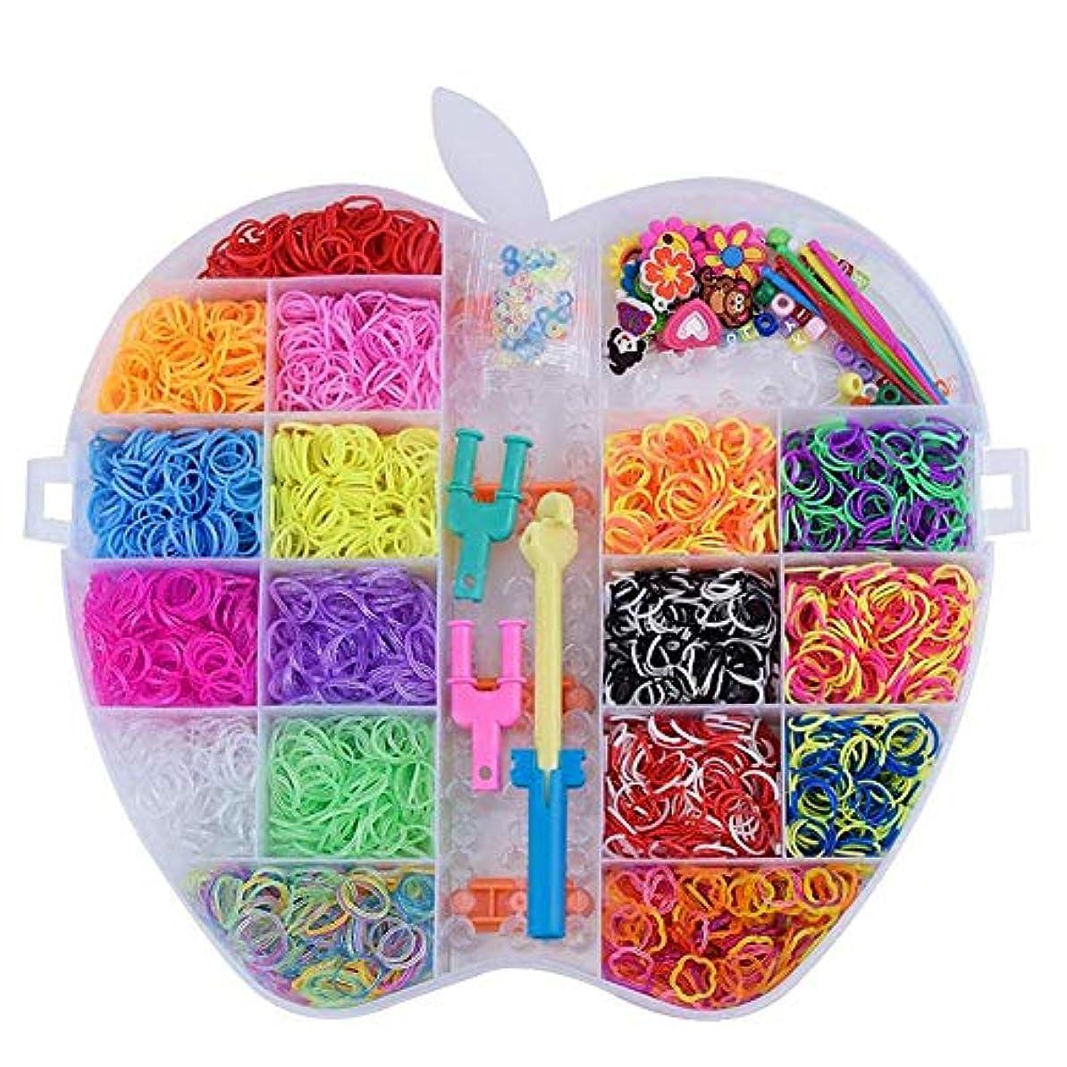 慣れる継承成人期HatesinesレインボーラバーバンドDIY子供用ニット玩具補助織機セット6000PCS