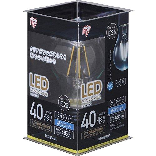 アイリスオーヤマLEDフィラメント電球 E26 40形相当 昼白色 非調光 LDA4N-G-FC クリア アイリスオーヤマ