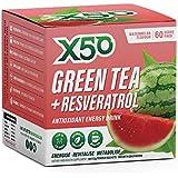 Green Tea X50 Green Tea & Resveratrol Watermelon Energy Drink Powder 60 Sachets, Clean Energy, Fat Burner,, Watermelon 180 grams