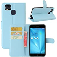 Zenfone 3 Zoom ZE553KL ケース HL Brothers ASUS Zenfone 3 Zoom ZE553KL 専用ケース 手帳型 本革 レザー TPU 財布型 スタンド機能 マグネット 手作りカード収納 耐摩擦 耐汚れ 全面保護 フリップ スマートフォン カバー (ブルー)