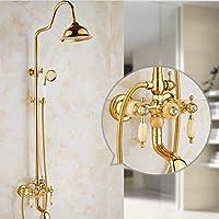 バスルームシャワーシステム シャワーミキサーセットシステムヴィンテージゴールドメッキシャワーセット360°旋回スライドレールシャワーヘッド+ハンドヘルドセット Tochange (色 : 黄)