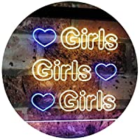 Girls Heart Bedroom Display Gift Dual Color LED看板 ネオンプレート サイン 標識 青色 + 黄色 300 x 210mm st6s32-i2223-by