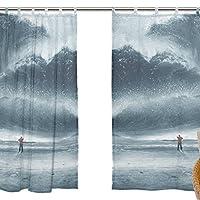 USAKI(ユサキ)高品質 おしゃれ 薄手 柔らかい シェードカーテン紗 ドアカーテン,装飾 窓 部屋 玄関 ベッドルーム 客間用 遮光 カーテン (幅:140cm x丈:210cmx2枚組)自然の風景 海 砂浜 波 M05