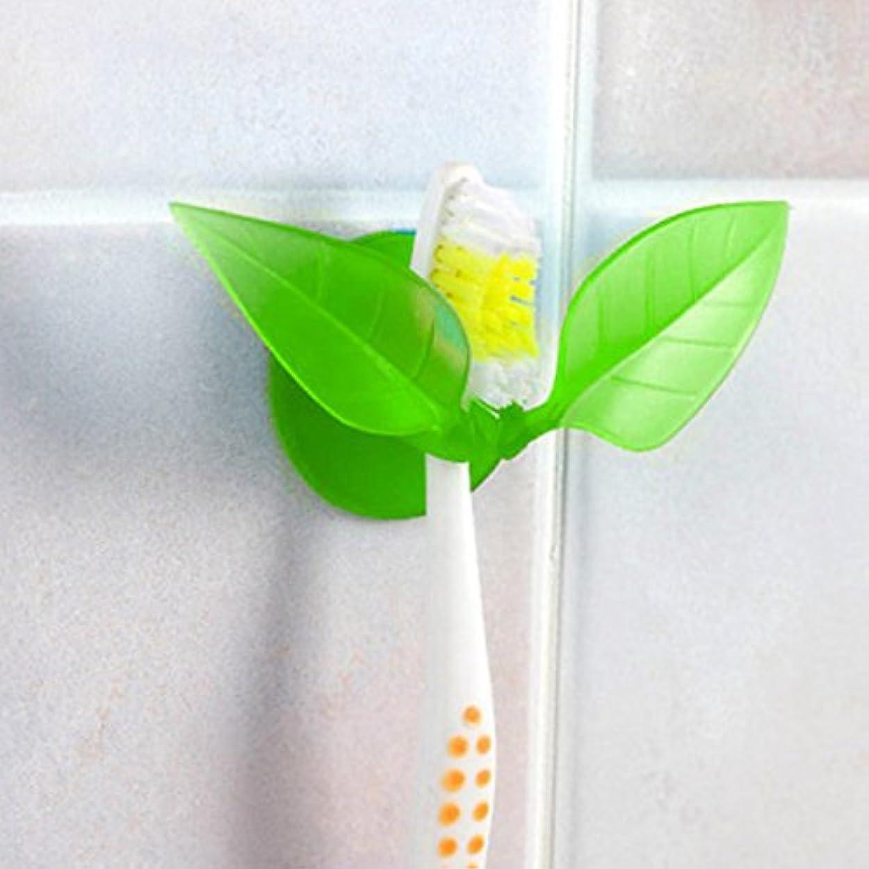 悪用文字従う歯ブラシホルダー 鏡取り付け用 吸盤付き グリーン B076FJQK1G