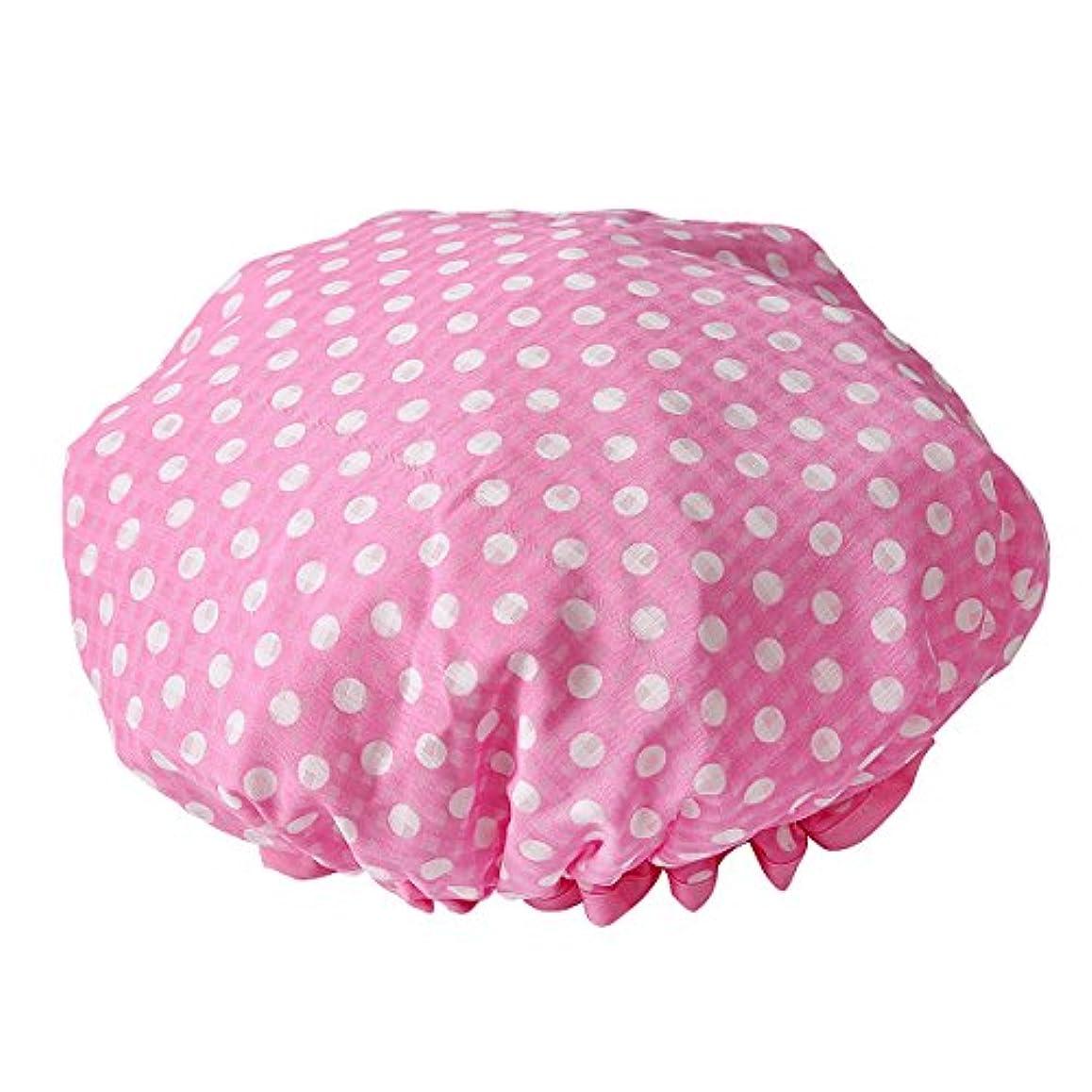 バウンス欲望子LiTi レディース シャワーキャップ 可愛い水玉 防水 (ピンク)