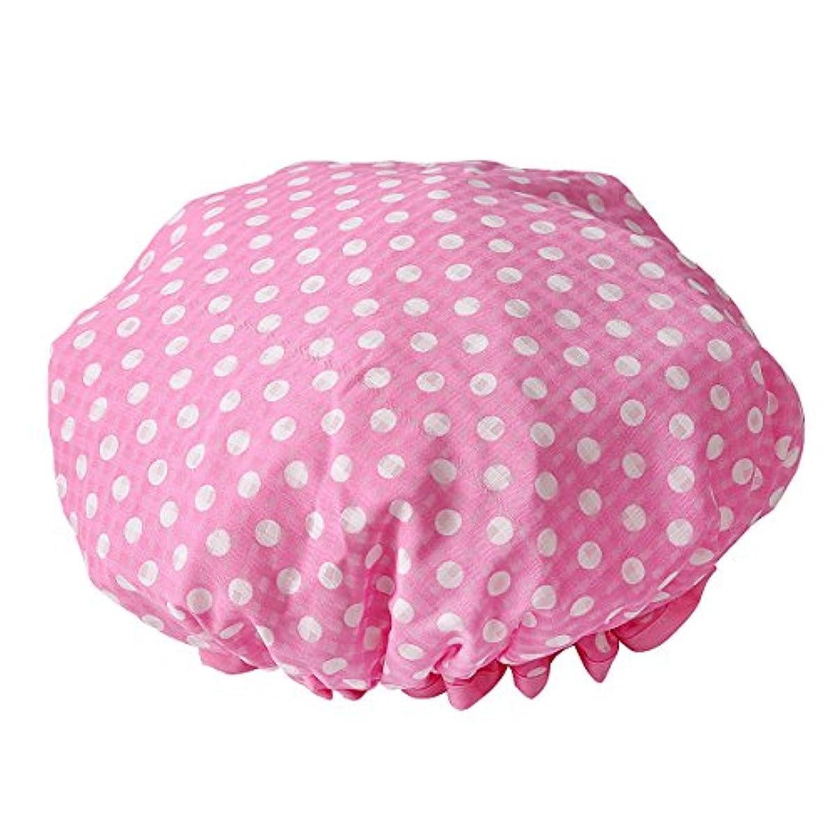 ファッション傷つきやすい浸漬LiTi レディース シャワーキャップ 可愛い水玉 防水 (ピンク)