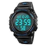 Timever(タイムエバー)デジタル腕時計 メンズ 防水腕時計 led watch スポーツウォッチ アラーム ストップウォッチ機能付き 50M防水時計 文字が大きくて見やすい (ブルー)