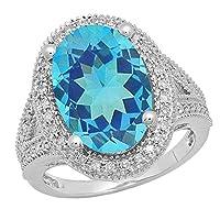 18Kホワイトゴールド15x 10mm楕円形宝石用原石&ラウンドホワイトダイヤモンドレディースヘイロー婚約リング