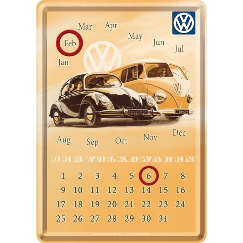 フォルクスワーゲン VW Calender / 卓上 万年 2017年 カレンダー (ブリキ製)