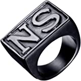 Oakky Jewelry Men's Stainless Steel Biker Rings,SO, Vintage,Gold and Black